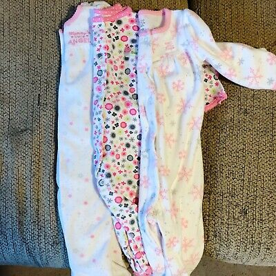 d4c82a6b9 CARTER S BUNDLE OF 3 Baby Girl Sleeper Pajamas Fleece Cotton Size 9 ...