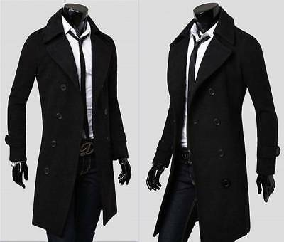 Mens Stylish Trench Coat Long Jacket Double Breasted - Black - Small brand new