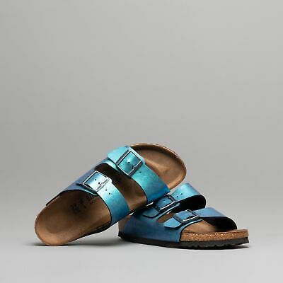 f73c6c141baa Birkenstock ARIZONA 1012393 (Nar) Ladies Birko-Flor Two Strap Slide Sandals  Blue