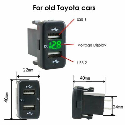 New 12V Dual 2USB Car Charger Socket Voltmeter 4.2A Power Adapter Fits to Toyota