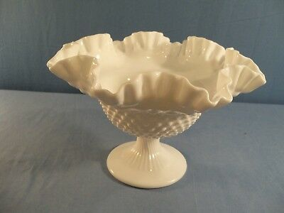 """Large #3731 Fenton White Milk Glass Hobnail 10"""" Footed Bowl"""