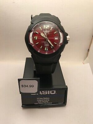 Casio MW600F-4AV, Men's Watch, Black Resin, Red Dial, Date, 10 Year Battery-H96