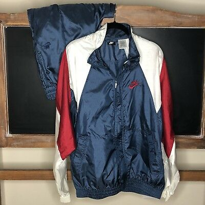 b0404f5c VINTAGE NIKE 2 Pc. Windbreaker Jacket & Pants Set Size Large USA Red ...