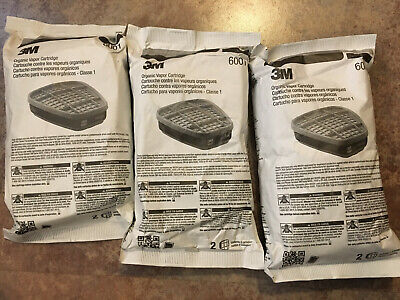 *USA MADE* 3M 6001 ORGANIC VAPOR LOW MAINTENANCE CARTRIDGE FILTER 3 PAIR 2 each