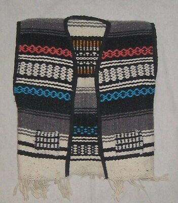 Vintage Serape Vest Biker Mexico Blanket Child Toddler Hippy Fringe Wool  small