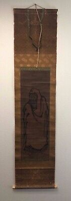 Fine Old Japanese Ink Scroll Painting Figure Signed w/ Seal