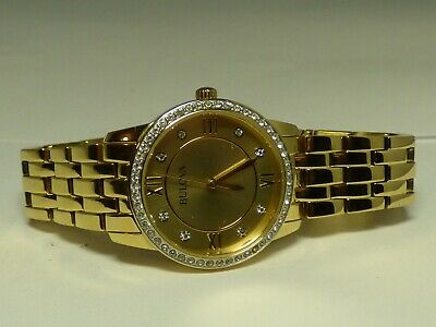 Bulova Ladies Watch Champagne Dial Crystal Accents Gold Tone 97X104