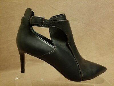 55ed63c8b47 Tory Burch Women Black Leather Heels Booties Buckle Ankle Pointy Toe Boots  7.5 M
