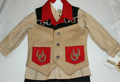 Vintage Western Embroidered Outfit 3 pc Boy Cowboy Rodeo Pageant 2 T