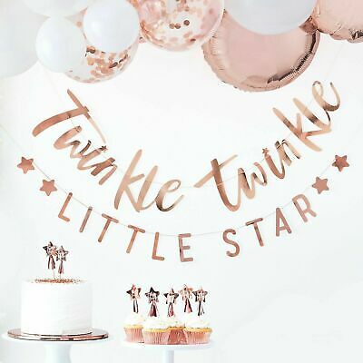 Baby shower rose gold bunting Twinkle Twinkle. Oh Baby range - Ginger Ray