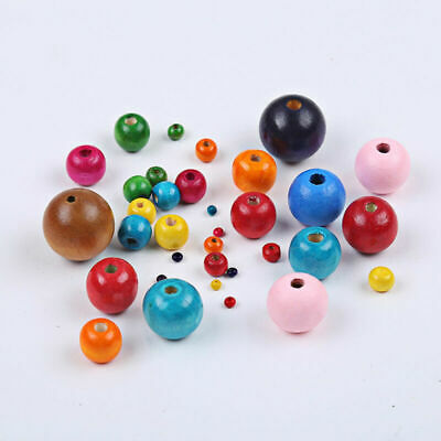200PCS Wood Beads Big Hole Charms Wooden Loose Colors Bead 6/8/10/12/14mm