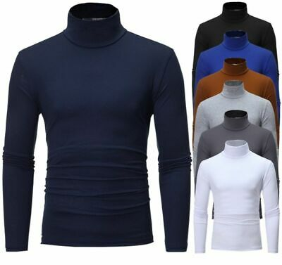 Men's High Turtle Neck Sweater Thermal Under Base Layer T-shirt Slim Fit Tops