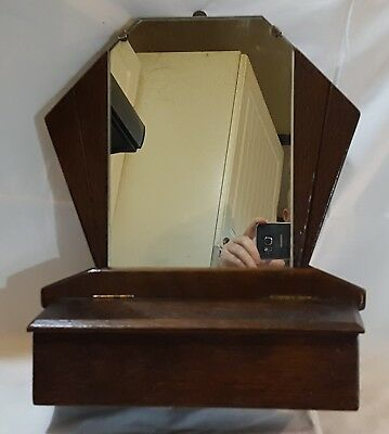 Oak wood vintage Art Deco antique wall mirror with drawer