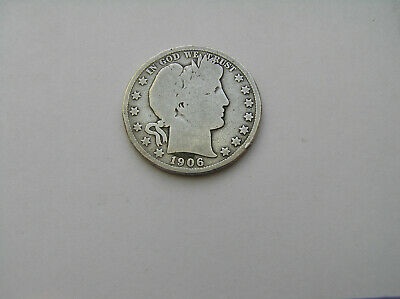 1906D  90% Silver Barber Half Dollar Good Details  Nice Coin At A Good Price !!