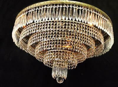 "Large! 24""x14"" Vintage Brass, CRYSTAL, 6 Tier, 10 Light Flush Ceiling CHANDELIER"