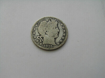 1915S  90% Silver Barber Half Dollar Good Details  Nice Coin At A Good Price !!