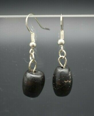 """Pair of ancient Roman stone bead earrings - with modern """"French Hooks"""""""