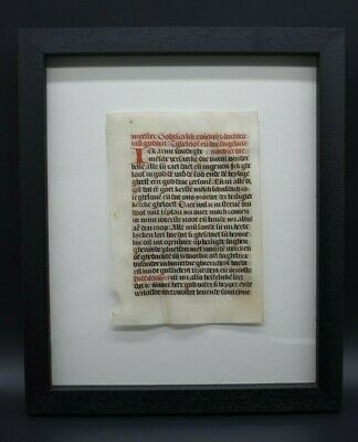 Medieval 15th century German vellum page - professionally framed