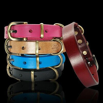 Soft Real Leather Dog Collar Metal Bucke for Small Medium Dogs Brown Black Blue