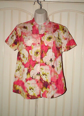 1f9b134f7a19f SZ SMALL Lemon Grass Button-Front Top Pink Fuchsia Floral Watercolor  Pattern NWT