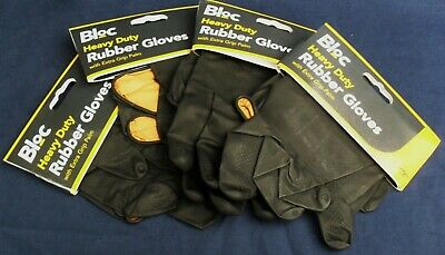 Heavy duty Bloc black rubber gloves extra grip palm LARGE DIY/Garden