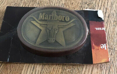 Nos Vintage 1987 Marlboro Cigarettes Advertising Solid Brass Steer Belt Buckle