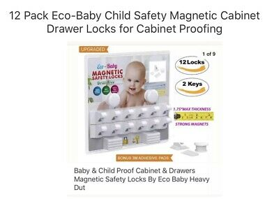 12 Pack Eco-Baby Child Safety Magnetic Cabinet Drawer Locks for Cabinet Proofing