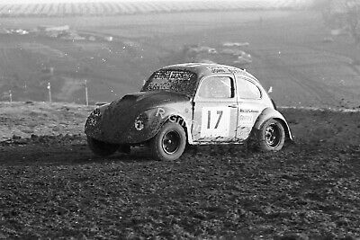 Photo John Button VW Beetle Rallycross Car Cadwell Park Circa 1973 1974 ?