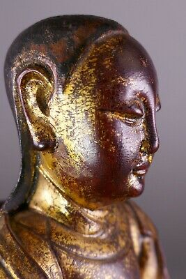 18th/19th Century Chinese Polychrome Carved Wood Gold Figure Work Of Art