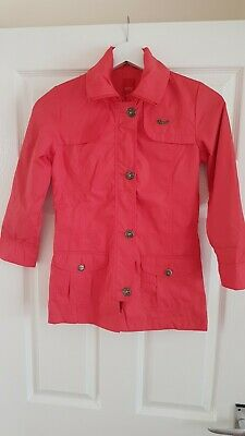 Red Esprit Mini Vgc Girls Waterproof Jacket Rain Coat Age 8-9years Zipped Pocket