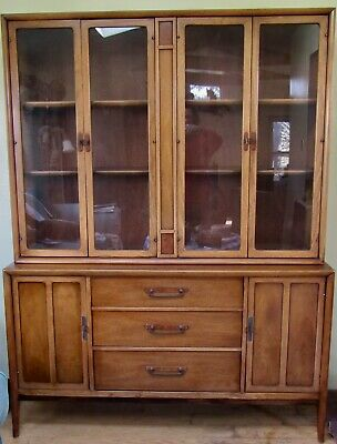 Furniture Drexel Heritage Meridian China Cabinet 1964 2 Pc Vintage Antique Maple