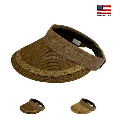 Straw Wide Brim Roll Up Visor Golf Beach Spring Summer Sun Casual Cap Hat  Women b3728490e833