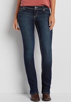 5ebe7723bc8 Maurices Ellie Slim Boot With Thick Stitching Dark Wash Jeans. Size 3 4  Short