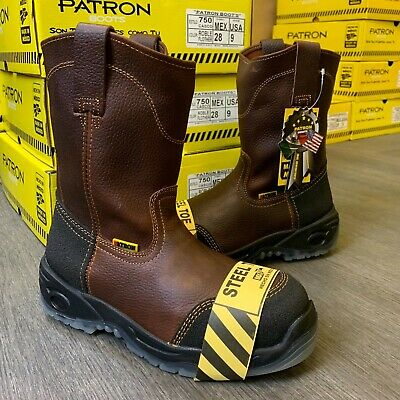 Men's Soft Toe Rubber Toe Heel Protector Work Boots Oil Resistant Brown
