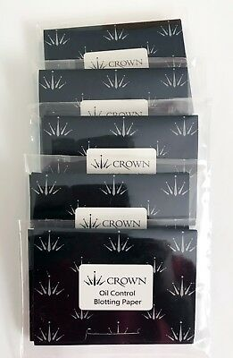 Crown Oil Control Blotting Paper 5 PACK (50 Sheets ea) - NEW IN PLASTIC WRAPPER