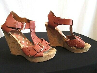 fcd828c5a3c0 Sam Edelman Brown Perforated Leather Cork Wedge Heel   Rose Gold Sandals Sz  ...