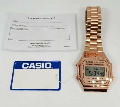 CASIO Classic Unisex Digital Bracelet Watch-A168WA-1YES Rose Gold - Retro Boxed