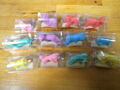 Set Of 12 Japanese Dog Erasers / Rubbers In Boxes