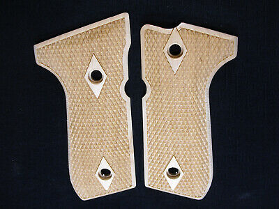Double Diamond Maple Beretta 92fs Grips Checkered Engraved Textured