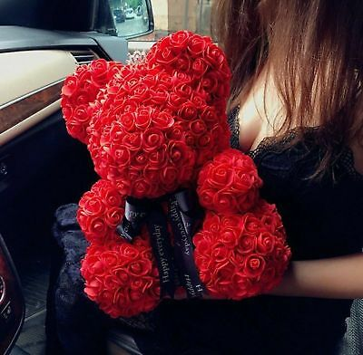 """Red Rose Bear Flower Teddy 15"""" In Box Gift For Valentine's Day Ships From USA"""