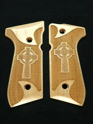 Celtic Cross Maple Beretta 92fs Grips Checkered Engraved Textured