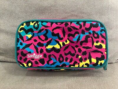 Smiggle Pink Leopard Print Hearts Pencil case, with 2 sections Like New [R2]