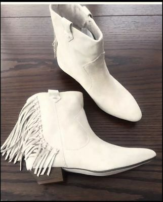 32f1df3035b NWT ZARA Ankle Boot Booties Suede Leather Fringe Flat Beige Light Gray 39  US 8