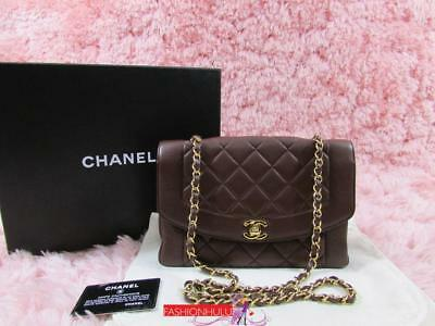 68d8d212e048 VINTAGE CHANEL DIANA Quilted Burgundy Brown Lambskin Flap Bag Gold ...