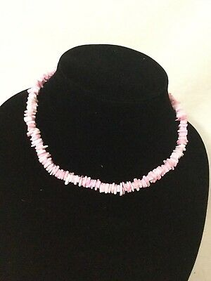 Vintage  pink Puka Shell Necklace 1980s