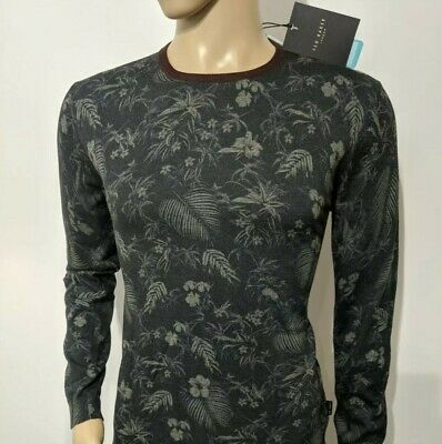 eee7d0e4bb84 Ted Baker London Mens Jumper Floral Charcoal Crew Sweater Size 3 UK M RRP£99