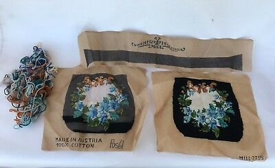 Antique vintage floral tapestry bag canvas wool weiner handarbeit mills Austria