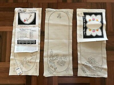 Lot 3 vintage Semco Faultley's linen sandwich tray doilies to embroider floral