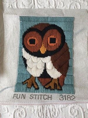 Completed Vinatge SEMCO Made in Aus hooty owl fun long stitch embroidery kit