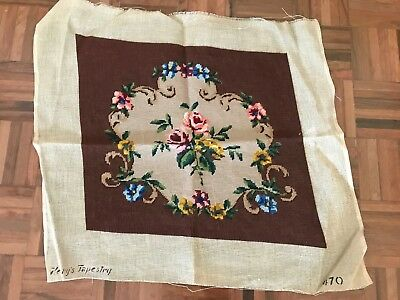 Antique henry's tapestry needlepoint french floral rose stool seat cushion cover